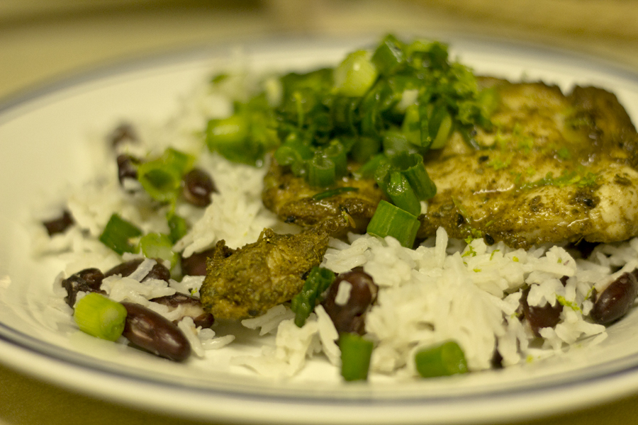 Caribbean chicken with zesty spring onion sauce, rice and beans | What ...