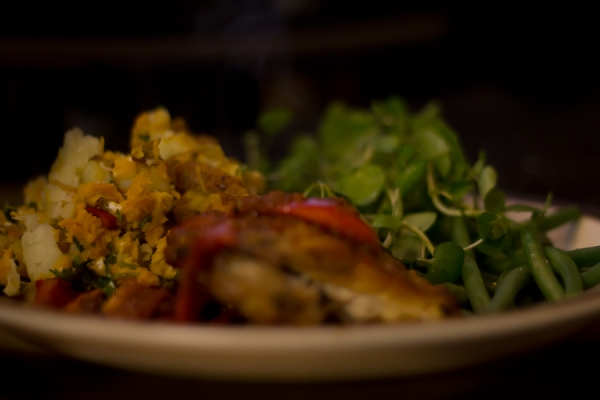 Sweet potato and feta side, watercress, and piri piri chicken