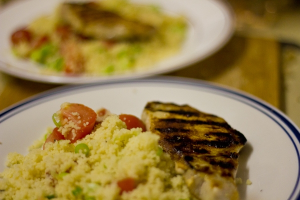 Honey and orange pork with spring onion cous cous