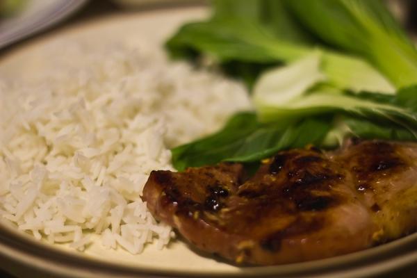 Chinese gammon, pak choi and rice