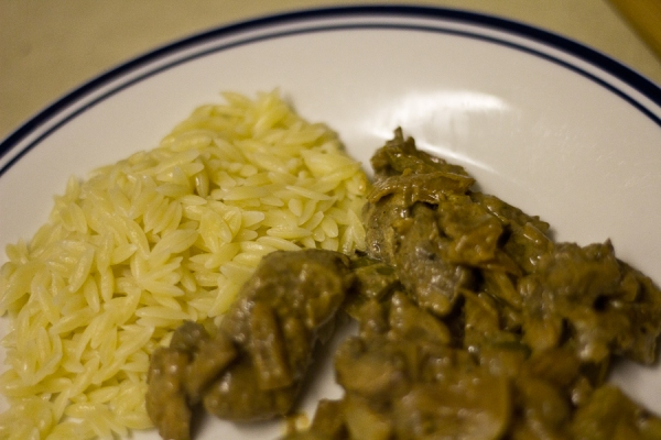 Beef stroganoff and orzo on the plate
