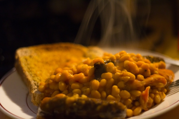 Beans on toast, steaming hot
